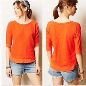 Anthropologie Orange Gauze Circle Tee Shirt Top